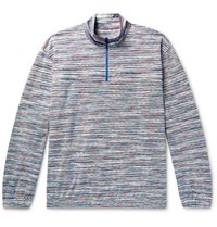 Missoni Space Dyed Cotton Half Zip Sweater Blue