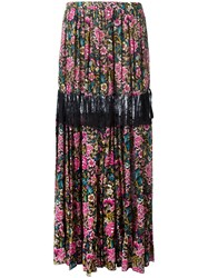 N 21 No21 Floral Print Maxi Skirt Black