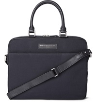 Want Les Essentiels Haneda Leather Trimmed Organic Cotton Canvas Briefcase Blue