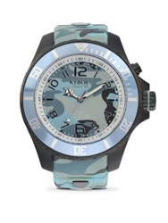 Kyboe Stainless Steel Camouflage Silicone Strap Watch Blue Camo