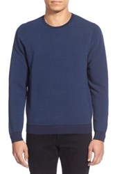 Calibrate 'Ottoman Stripe' Trim Fit Crewneck Sweater Regular And Tall Blue