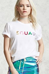 Forever 21 Squad Graphic Tee White Pink