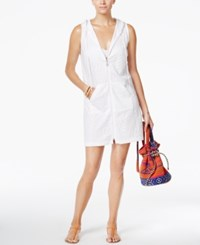 Dotti Pretty Palm Jacquard Hooded Cover Up Women's Swimsuit White