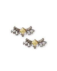 Armenta Old World Diamond And Sapphire Cluster Stud Earrings Yellow Black
