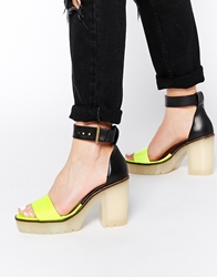 Tba To Be Announced Trindad Platform Ankle Strap Heeled Sandals Patentyellow