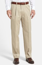 Men's Big And Tall Nordstrom Smartcare Relaxed Fit Double Pleated Cotton Pants Tan