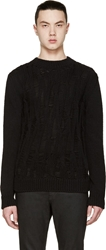 Saint Laurent Black Open Cable Knit Crewneck Sweater