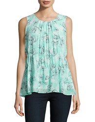 Ellen Tracy Mint Shell Spring Floral Top Green