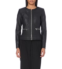 French Connection Embossed Collarless Biker Jacket Black