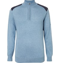 Dunhill Links Two Tone Silk Wool And Cashmere Blend Half Zip Sweater Blue