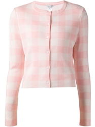Oscar De La Renta Check Pattern Cropped Cardigan Pink And Purple