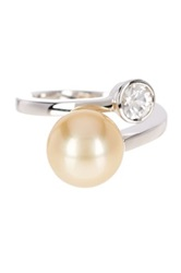 Imperial Pearls 10 11Mm Round Golden South Sea Pearl And White Zircon Bypass Ring No Color