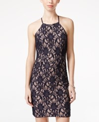 City Triangles City Studios Juniors' Embellished Halter Lace Sheath Dress Navy Nude