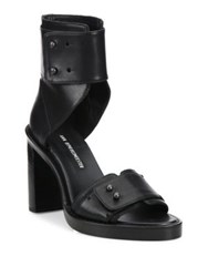 Ann Demeulemeester Leather Ankle Cuff Block Heel Sandals Black