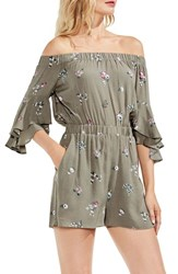 Vince Camuto Off The Shoulder Ruffle Sleeve Floral Romper Camo Green