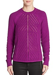 1.State Mixed Knit Crew Sweater Bright Fig