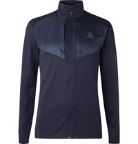 Salomon Grid Shell Panelled Stretch Jersey Zip Up Mid Layer Blue