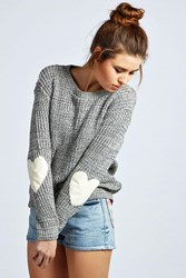 Boohoo Heart Elbow Patch Jumper Grey
