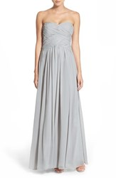 Women's Js Boutique Strapless Ruched Chiffon Gown Grey