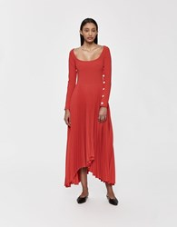 Awake Scoop Neck Pleated Dress Red