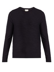 Wooyoungmi Crew Neck Wool Sweater Navy