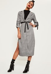 Missguided Checked Buckle Sleeve Duster Jacket Grey