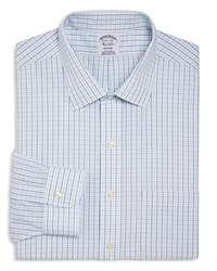 Brooks Brothers Alternating Grid Check Classic Fit Dress Shirt Navy Aqua