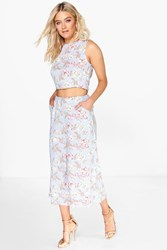 Poppy Floral Culotte And Crop Top Co Ord Set