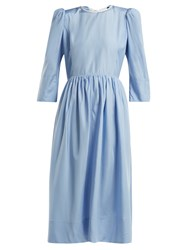 Anna October Tie Back Cut Out Silk Dress Light Blue