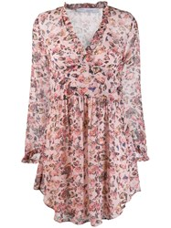 Iro Floral Flared Dress Pink