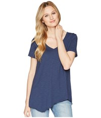 Lilla P Short Sleeve V Neck Ink Short Sleeve Pullover Navy