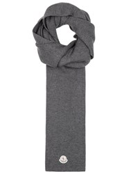Moncler Grey Ribbed Wool Scarf