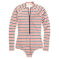 J.Crew Long Sleeve One Piece Swimsuit In Multistripe White Grotto Red