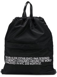 Calvin Klein 205W39nyc Slogan Drawstring Backpack Black