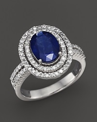 Bloomingdale's Sapphire And Diamond Oval Double Band Ring In 14K White Gold Blue