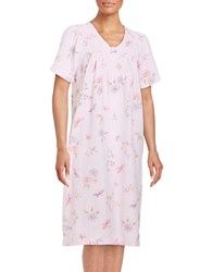 Miss Elaine Floral Print Waffle Knit Mumu Duster Robe