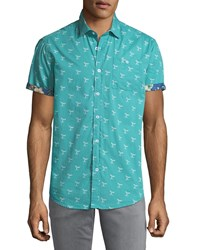 Report Collection Whale Print Short Sleeve Sport Shirt Green