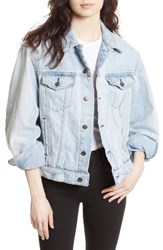 Free People Women's Paisley Quilted Denim Jacket