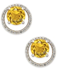 Macy's Gemstone 1 1 2 Ct. T.W. And Diamond 1 6 Ct. T.W. Round Halo Birthstone Stud Earrings In Sterling Silver Citrine