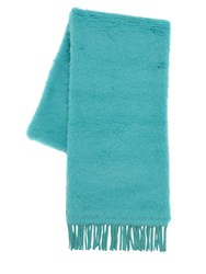 Max Mara Long Teddy Camel And Alpaca Blend Scarf Turquoise