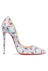 Christian Louboutin Pigalle Follies 120 Printed Python Pumps Sky Blue