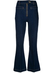 L'autre Chose Cropped Flared Jeans Blue