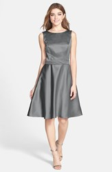 Women's Dessy Collection Draped Back Satin Fit And Flare Dress Charcoal Grey