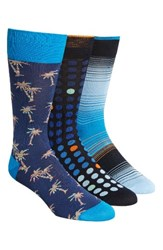 Bugatchi Men's 3 Pack Cotton Blend Socks Blue Navy Dot Navy Palm Tree