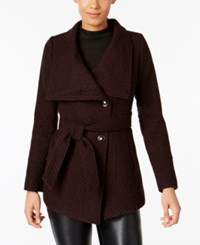 Inc International Concepts Asymmetrical Belted Walker Coat Created For Macy's Merlot