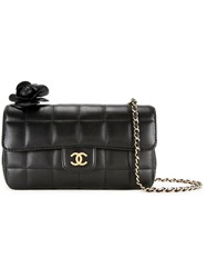 Chanel Vintage Quilted Cc Logo Camellia Chain Shoulder Bag Black