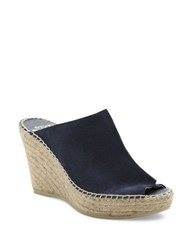 Andre Assous Cici Espadrille Wedge Suede Mules Navy Blue