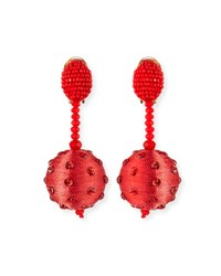 Oscar De La Renta Beaded Polka Dot Ball Drop Clip On Earrings Pink