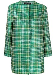 Gianluca Capannolo Oversized Houndstooth Pattern Coat Green