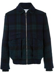 Carven Bi Material Checked Jacket Blue